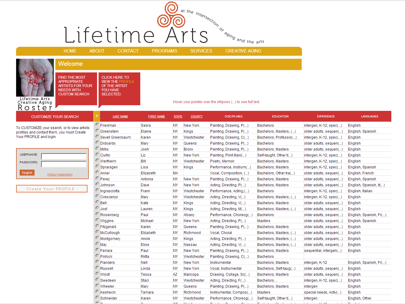 Screenshot of the Creative Aging Roster