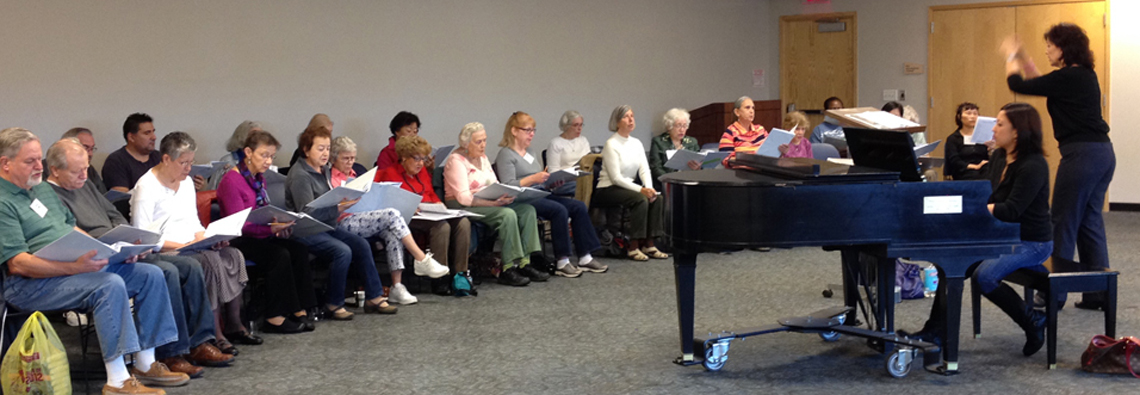 Maryl Apadula conducting her students at the Westchester Library System (2013)