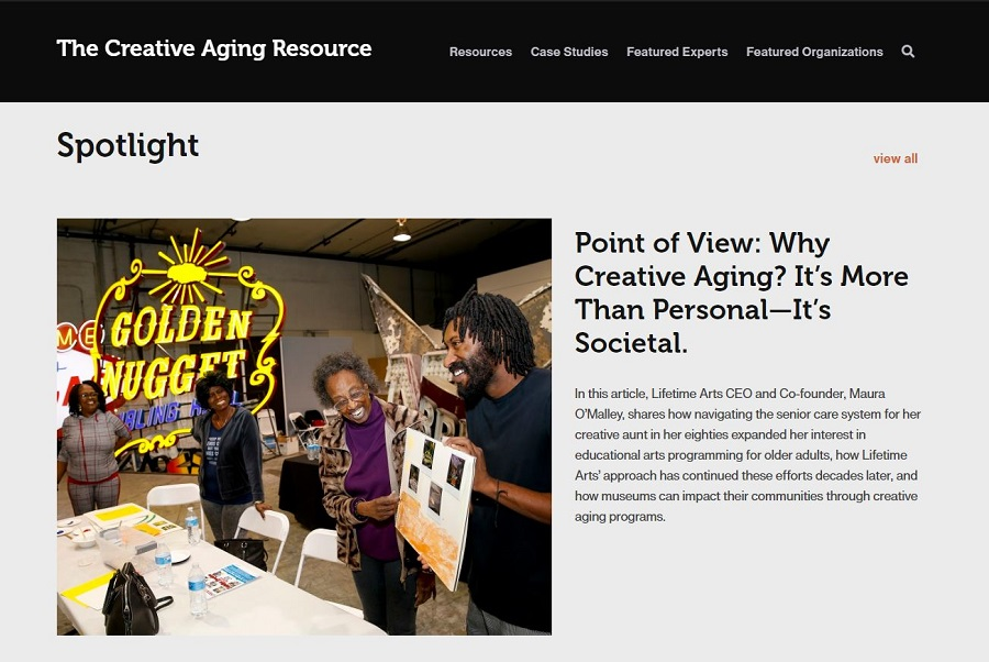 This is a screenshot image of The Creative Aging Resource website homepage.